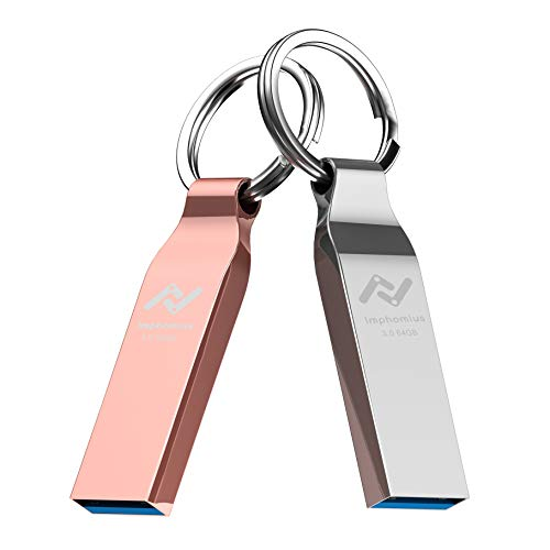 64GB USB 3.0 Flash Drive 2 Pack USB3.0 Thumb Drives 64 GB Metal Rugged Waterproof Jump Drive with Keyring for Computer Backup Storage Zip Drives Memory Stick