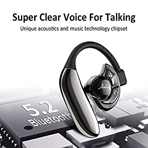 AMINY Bluetooth Headset Wireless Bluetooth Earpiece-Compatible with Android/iPhone/Smartphones/Laptop-16 Hrs Playing Time V5.0 Bluetooth Earbuds Wireless Headphones with Noise Cancelling Mic