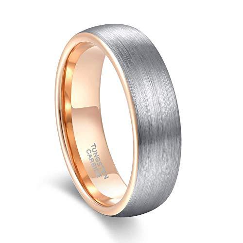 Titaniumcentral 6mm 8mm Damen Herren Wolfram Ring Ehering Hochzeitsband Trauringe Pinsel Silber mit Schwarz Blau (Rose Gold(6mm), 54 (17.2))