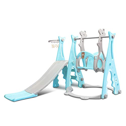 Baby & Toddler Swing and Slide Set w/ Basketball Hoop 2020 Kids Fun Playset for Indoor and Outdoors Playground Play Set Extra Long Slide(Shark, Blue)
