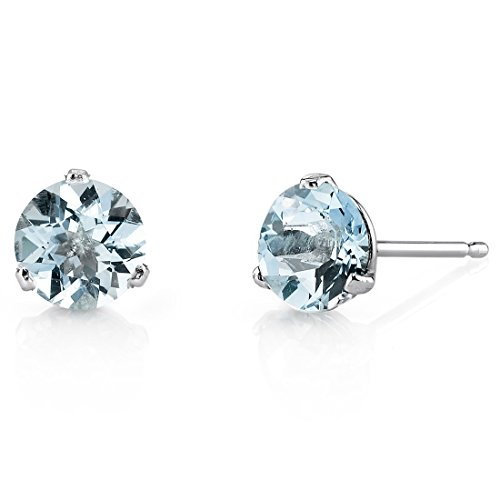 Peora Aquamarine Stud Earrings for Women in 14 Karat White Gold, Martini Solitaire Round Shape, 6mm, 1.50 Carats total, Friction Back