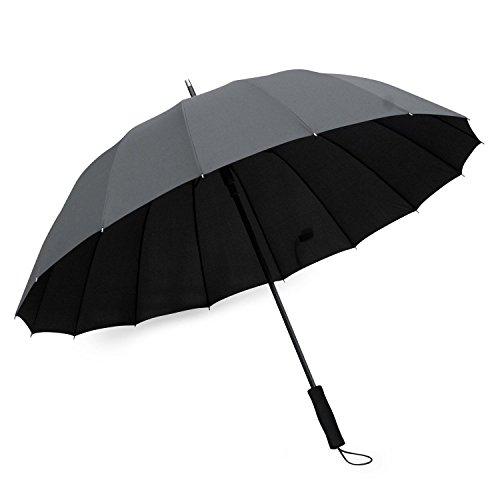 Becko Regenschirm, gerades Stock-Design, manuelles öffnen und schließen, robust, 24Fasern, windfest, 4412855, Schwarz