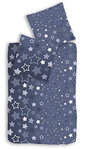 Träumschön Pościel flanelowa zestaw 135 x 200 2-częściowy z poszewką na poduszkę 80 x 80 cm | delikatna pościel flanelowa ze 100% bawełny | wzór gwiazdy ciemnoniebieski
