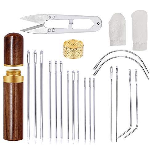 22 Stücke Leder Nadeln Set, 7 Größen Leder Hand Nähen Nadeln, Gebogene Nadeln mit Fingerschutz, Fingerspitze, Schere für Leder Handwerk Hand Nähen Stricken