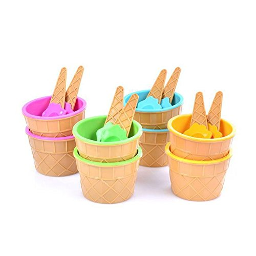 takestop® Copas de colores 6 unidades con cucharilla CPW_44425 forma cono de...