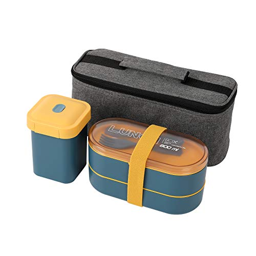 PENGKE Bento Box Adult Lunch boxJapanese Bento Boxes For Adults With insulation bagLeak-proof Eco-Friendly Bento Lunch Box Meal Prep Containers for Kids and AdultsBlue