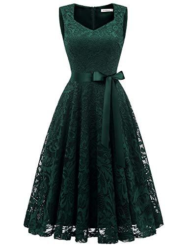 Gardenwed Damen Elegant Spitzenkleid Strech Herzform Abendkleid Cocktailkleider Partykleider Dark Green M