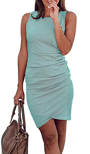 BTFBM Women's 2020 Casual Crew Neck Ruched Stretchy Bodycon T Shirt Short Mini Dress (106Green, X-Large)