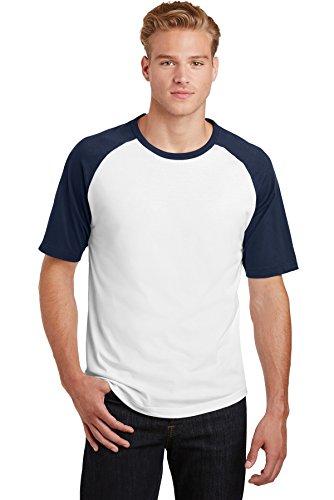 Sport-Tek® Short Sleeve Colorblock Raglan Jersey. T201 White/ Navy 2XL