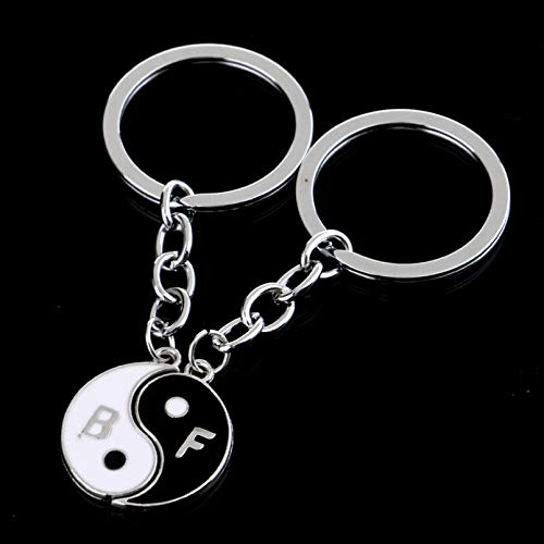 MENGYUE 2Pc/Set Fashion Best Freind Yin Yang Puzzle Best Friends Friendship Charm Pendant Keyring Keyfob Keychain Women Jewelry Gifts