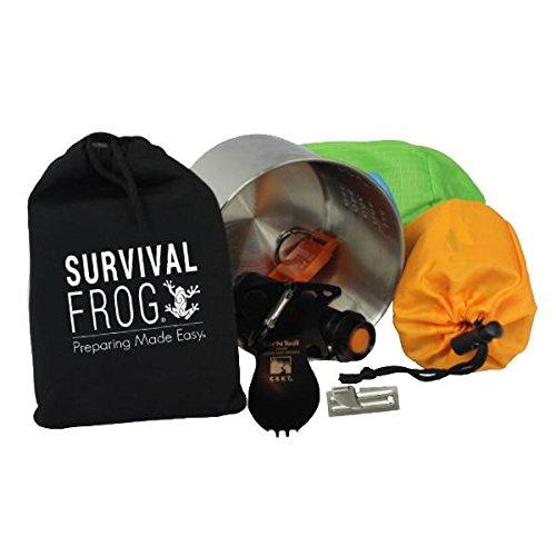 LifeShield Mini Tact Survival Kit by Frog & CO - Emergency Whistle, Mess Kit, Emergency Sleeping Bag, & Flashlight