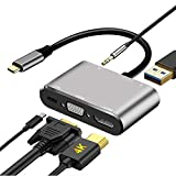 USB C to HDMI VGA Adapter 4K, Ifmeyasi 5 in 1 USB C Hub with HDMI, 1080P VGA, USB 3.0, USB-C PD Charging, Audio, Type C Multiport Converter Compatible with MacBook/Dell XPS/Nintendo Switch/Samsung