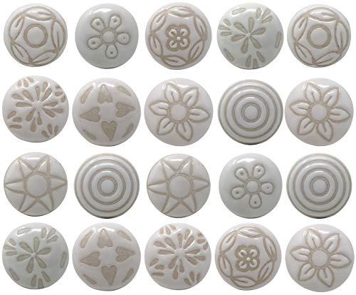 Set di 20 pomelli in ceramica per cassettiera, cassettiera, cucina, bagno, credenze, bianco neve