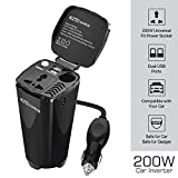 Portronics CarPower One Portable 200W Car Inverter with Single AC 220V Output