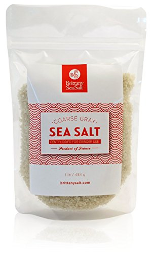 Dried French Coarse Gray Sea Salt for Grinders by Brittany Sea Salt - Premium Gourmet Sea Salt - 'Sel Gris de Guérande'- Naturally High in Minerals, Lower in Sodium - 1 Pound Resealable Pouch