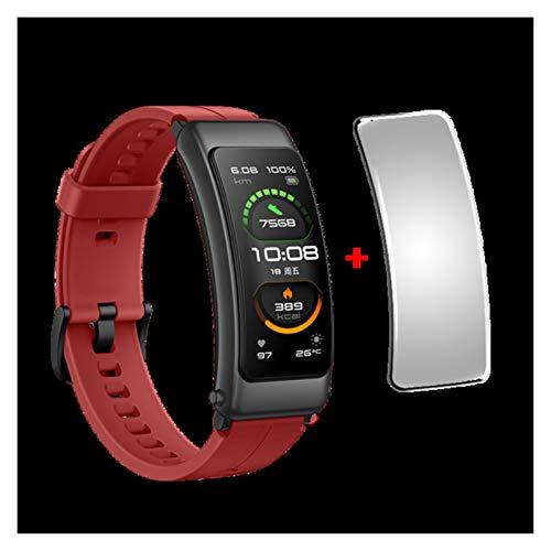 XXY Talkband B6 Band B6 B5 Bluetooth Smart Pulsera Wearable Deportes Pulseras Táctil AMOLED Pantalla Llamada Llamada Auricular Banda (Color : Red n Film)