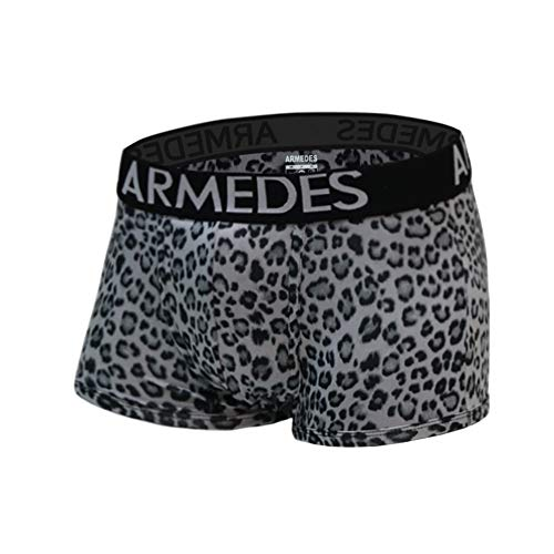 ARMEDES Men's Stretch No-Fly Cool Dry Sports Leopard Brief Underwear Trunk (4-Pack) AR 01 (AR 01 Grey2p/Blue/Chacoal, Medium)