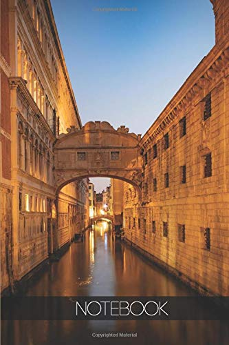 Notebook - Travel Journal - 110 pages: Venice, Venezia, Italy - Bridge of sighs Sunset