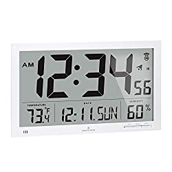 Marathon Slim Jumbo Auto-Set Atomic Digital Wall Clock with Temperature, Date, Humidity, 4 Time Zone, Auto DST, Self Setting, Self Adjusting, Batteries Included (White)