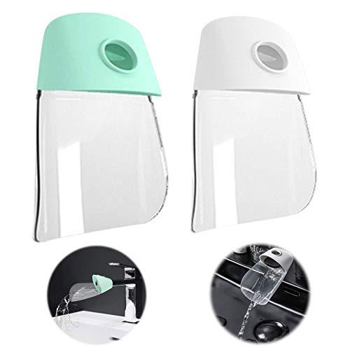Fregadero de la Manija Extender Faucet Extender para Niños Extensor de Grifo de Silicona Extensor de Grifo para el Lavabo Extensor de Grifo de Agua para Pequeños Niños Bebés Blanco Verde 2 Piezas