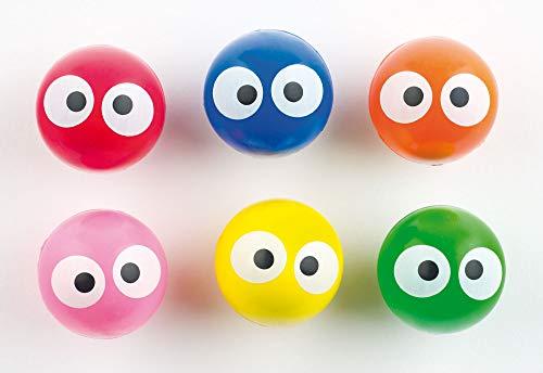 Baker Ross- Pelotas de Goma (Pack de 6) de Colores Fluorescentes con Ojos Redondos -Regalos Infantiles para Bolsas de cotillón
