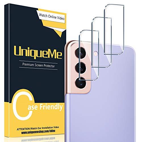 UniqueMe [3 Pezzi] Pellicola Fotocamera Compatibile con Samsung Galaxy S21/S21 Plus/S21+,[Bubble-Free] Pellicola Protettiva Vetro Temperato Fotocamera [Facileinstallare] [Durezza 9H].