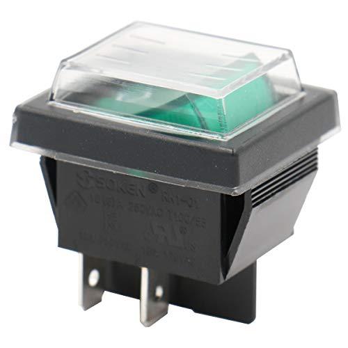 El interruptor de Rocker de Heschen RK1-01-HS-G con cubierta impermeable, DPST ON-OFF, 4 terminales Luz verde, 16A, 250VAC