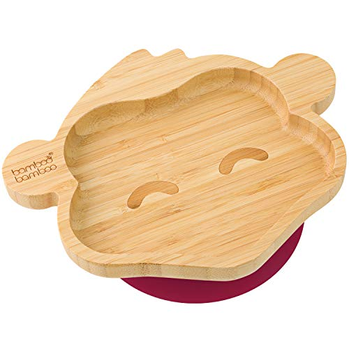 bamboo bamboo Baby Toddler Monkey Suction Plate, Stay Put Feeding Plate, Natural Bamboo (Cherry)
