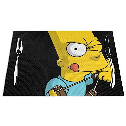 Simpsons - Manteles individuales lavables antideslizantes con aislamiento térmico tejido de vinilo para cocina, mesa de comedor