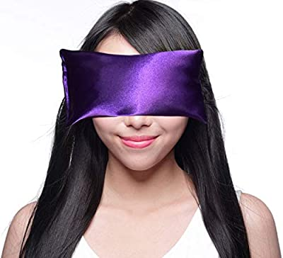 Happy Wraps Lavender Eye Pillow - Hot Cold Aromatherapy Satin Eye Mask for Yoga, Sleeping, Migraines, Stress, Relaxation - Gifts for Women, Birthdays, Coworkers, and Christmas - Amethyst