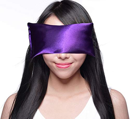 Happy Wraps Lavender Eye Pillow and Free Sleep Mask - Hot Cold Aromatherapy during Yoga, Sleeping, Stress, Relaxation. Gifts for Women, Nurses, Doctors, Coworkers, Christmas - Amethyst