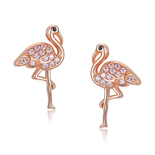 Flamingo Ohrringe 925 Sterling Silber Tier Ohrringe Pink Cute Animal Flamingo Geschenke für Mädchen