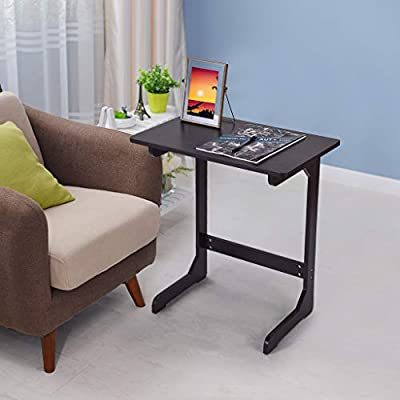 Sofa Side End Table, C Shaped Bamboo Snack Lapt...
