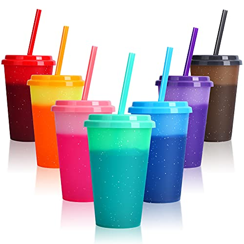 Color Changing Cups with Lids & Straws - 12 oz Reusable Cute Plastic Tumbler Bulk - 7 Pack Kids Small Funny Travel Straw Tumblers/ Adults Iced Cold Drinking Party Cup