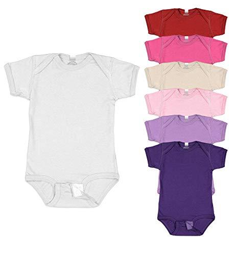 Snoozzz'n Baby 6 Pack Bodysuit / 100% Soft Cotton Short Sleeve Onesie (6 Pack- Girls Grab Bag Assorted Solids, Newborn)