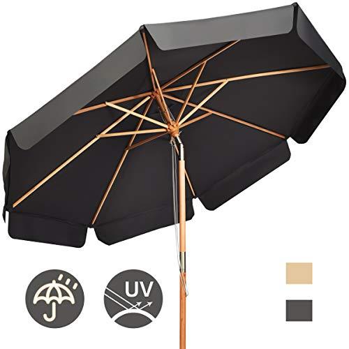 COSTWAY Sombrilla de Ø300cm de Madera Parasol de Jardín Inclinable Sombrilla de Manivela para Playa Jardín Piscina Terraza (Gris)