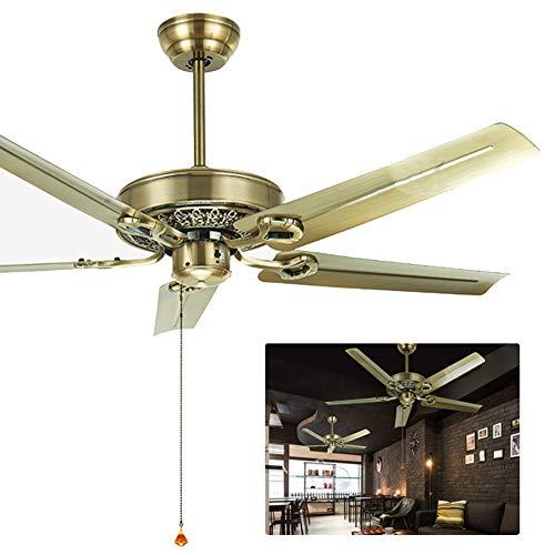 Ventilador techo Ventilador de techo de estilo industrial retro, para sala de estar de dormitorio comercial en el hogar, con control remoto y 5 aspas de metal ( Color : Bronze , Size : 132cm/5