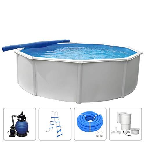 KWAD Schwimmbad mit Filterpumpe Stahlwandbecken Schwimmbecken Swimming Pool Familienpool Planschbecken Aufstellbecken Komplettset Rund 4,6x1,2m