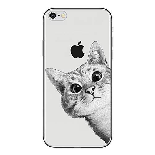 Preisvergleich Produktbild Homikon Silikon Hülle Karikatur Kat TPU Tasche Handyhülle Transparente Durchsichtig Weiche Flexible Schutzhülle Stoßfeste Stoßdämpfend Soft Case Cover Kompatibel mit iPhone SE / 5S / 5 - Neugierige Katze