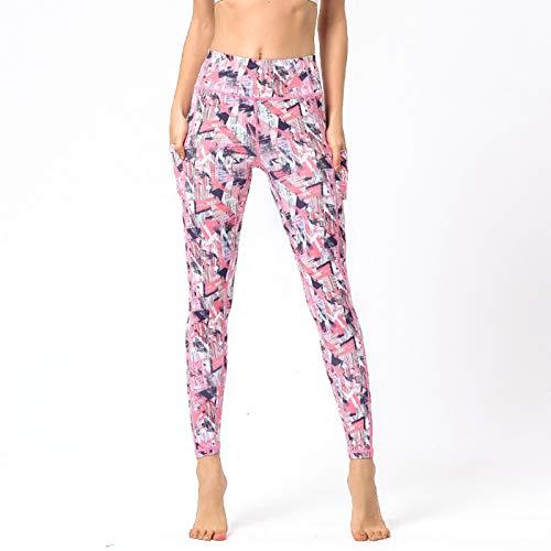 Lefuyan Pantalones De Yoga De Cintura Alta para Mujer con Bolsillos para Mujer,B,M