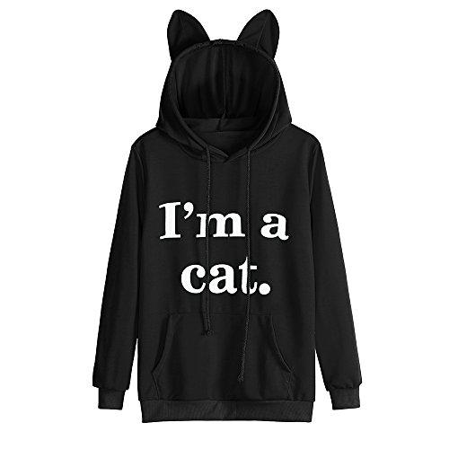 Keepwin Damen Casual Kapuzenpullover, I'm a cat. Niedlich Katzenohr Haube Kordelzug Hooded Pullover Sweatshirt Pocket Bluse Tops (XL, Schwarz)