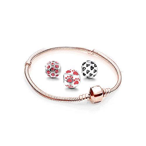 AKKi jewelry Damen Charms und Beads Anhänger Perlen, Set Armband mit 3 Charm Edelstahl silber zirkonia Taze Rot Bead Rosegold 19cm