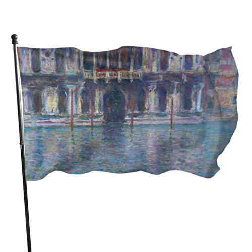 Monet Water City Building Venice Palazzo Da Mula Banderas Decoración Decoraciones para Fiestas Banderas 3x5 Pies Colores Vibrantes Calidad Poliéster y latón Ojales