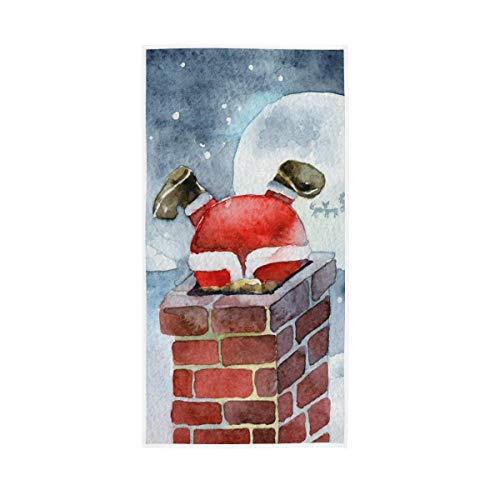 Badetuch Aquarell Santa Claus Im Schornstein Stecken Erwachsene Absorbierende Badetuch 130X80Cm Yoga Unisex Pool Handtuch Badezimmer Fitnessstudio Weiches Strandtuch Mehrzweck Küc