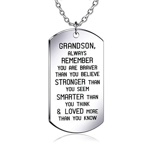 danjie to My Grandson Dog Tag Military Stainless Steel Pendant Necklace Grandson Always Remember You are Braver Stronger Smarter Than You Think