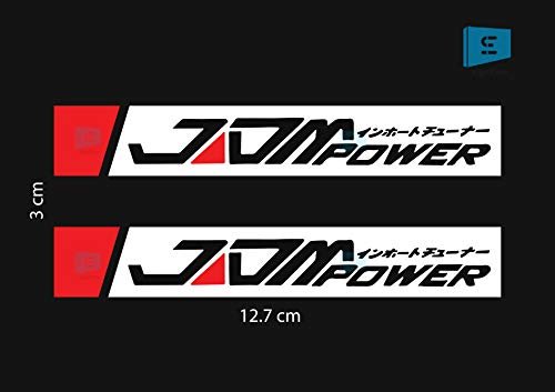 SIGN EVER JDM Power Sport Car Rear View Mirror Stickers and Decals Sides Window Vinyl Decals L x H 12.70 cm x 3.00 cm Pack of 2