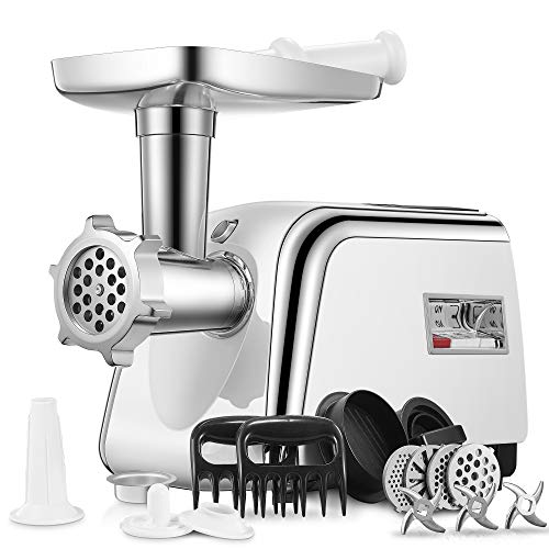 Electric Meat Grinder, Aicok [2500W Max] Sausage Stuffer with 4 Grinding Plates, 3 - S/S Blades, 2 Free Meat Claws, Cookie Shaper & 2 Burger-Slider Maker, 3 Speeds Control, Storage Box