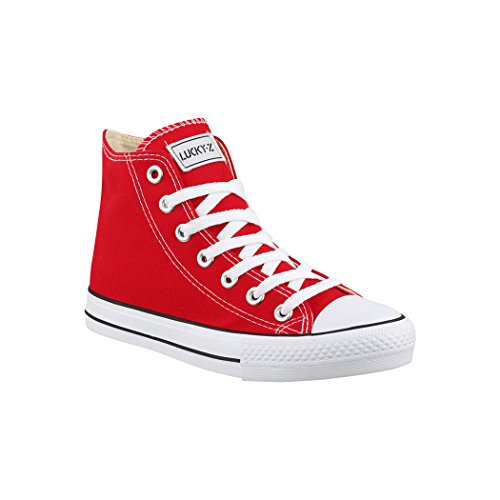 Elara Zapatos de Deporte Unisex Sneaker High Top Chunkyrayan Rojo BE-CA014/CB019 Red-42