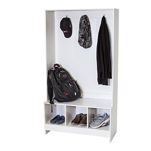 3 Cube Entryway Storage Bench and Coat Rack Hall Tree, White