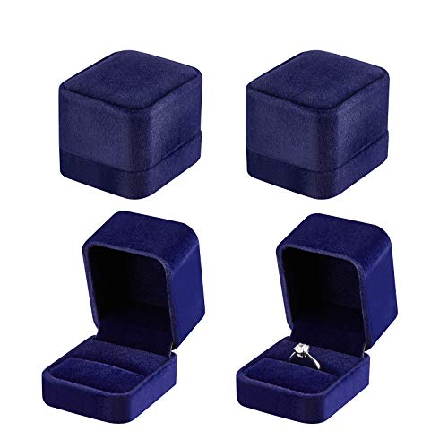 4 Pieces Velvet Ring Gift Boxes Set, Earring Pendant Jewelry Case, Jewellry Display Box for Wedding, Engagement,Proposal, Birthday and Anniversary (Blue)